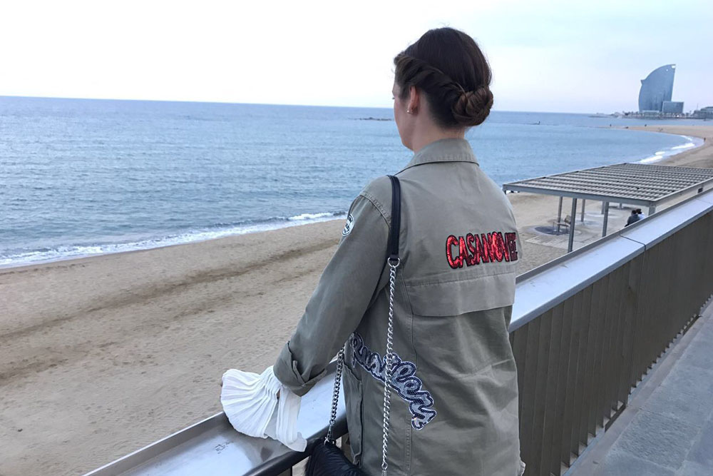 Barcelona Outfit Jacke oliv mit Patches