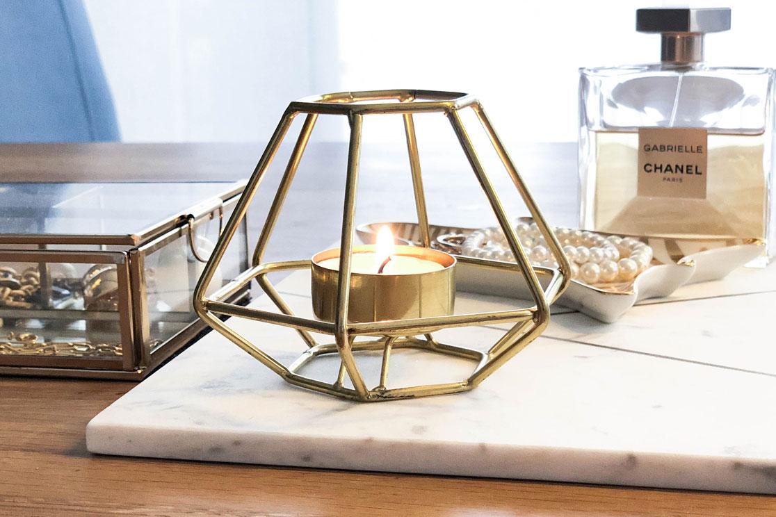 Geometrischer Teelichthalter gold H&M Home