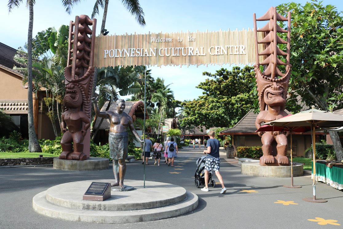 Eingang Polynesien Cultural Center Oahu