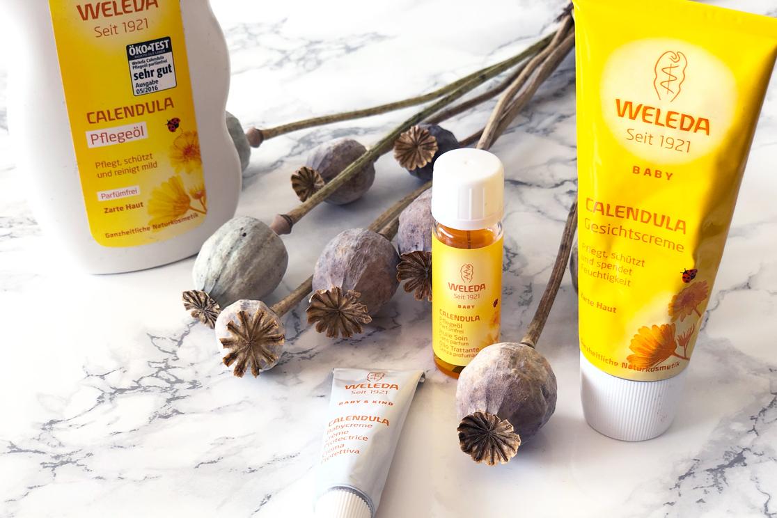 Vegane Kosmetik - Weleda Calendula Pflegeprodukte auf Marmor